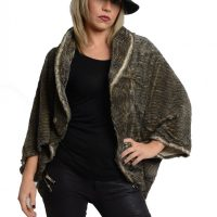 Khaki Wavy Soft Touch Textured Poncho Wrap
