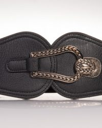 Black Elasticated Faux Leather High Wasited Fashion Belt