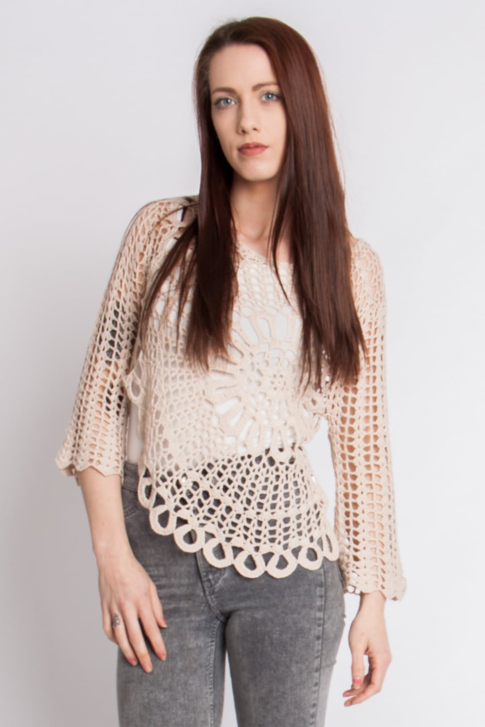 Cream Crochet Knitted Long Sleeve Top With Floral Pattern