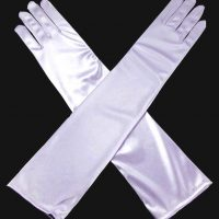 Long Satin Plain White Gloves