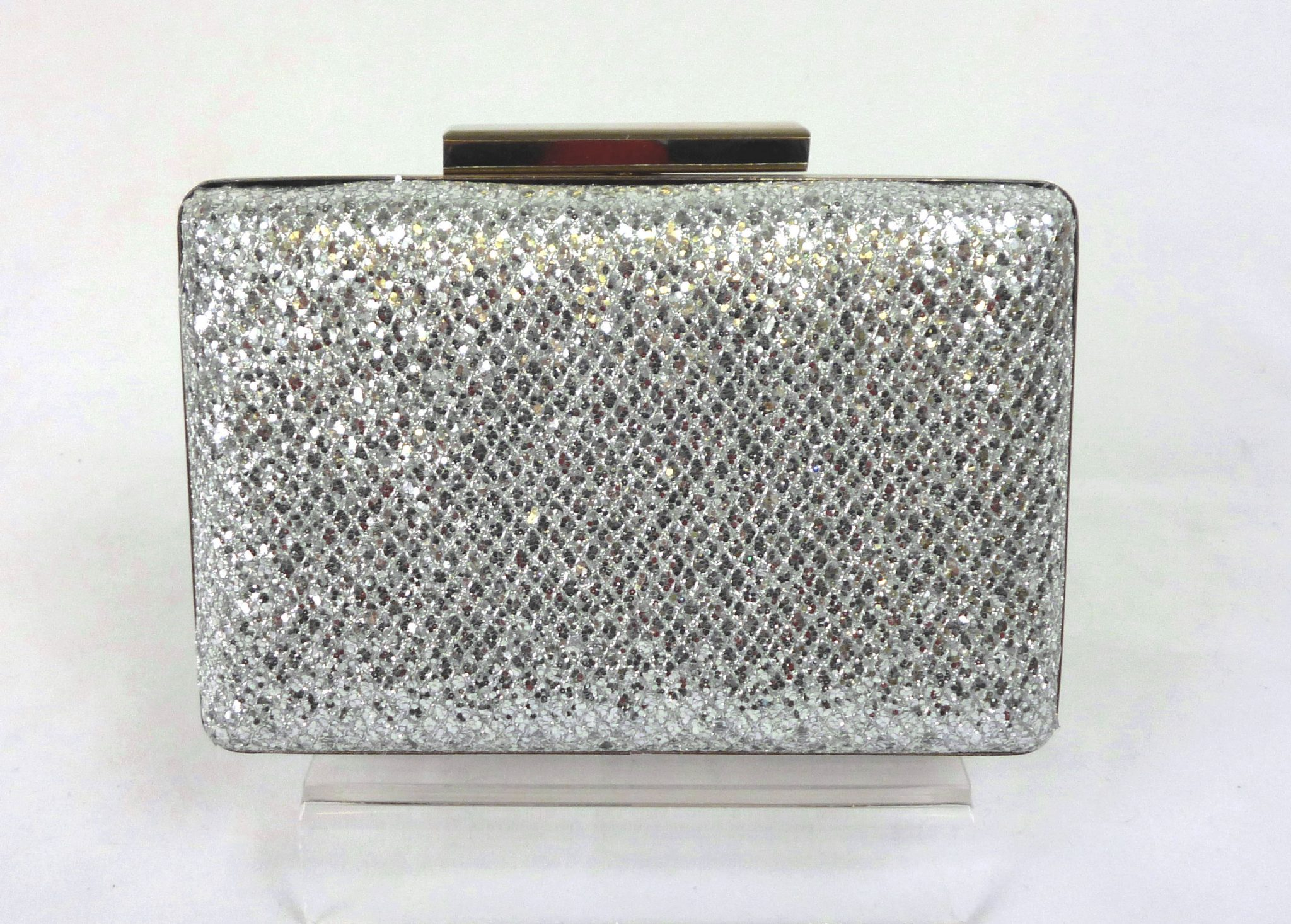 fe5f2472d Silver Sparkle Textured Small Box Clutch Bag - Love4Bags Boutique