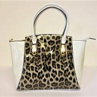 Grey Leopard Patent Handbag