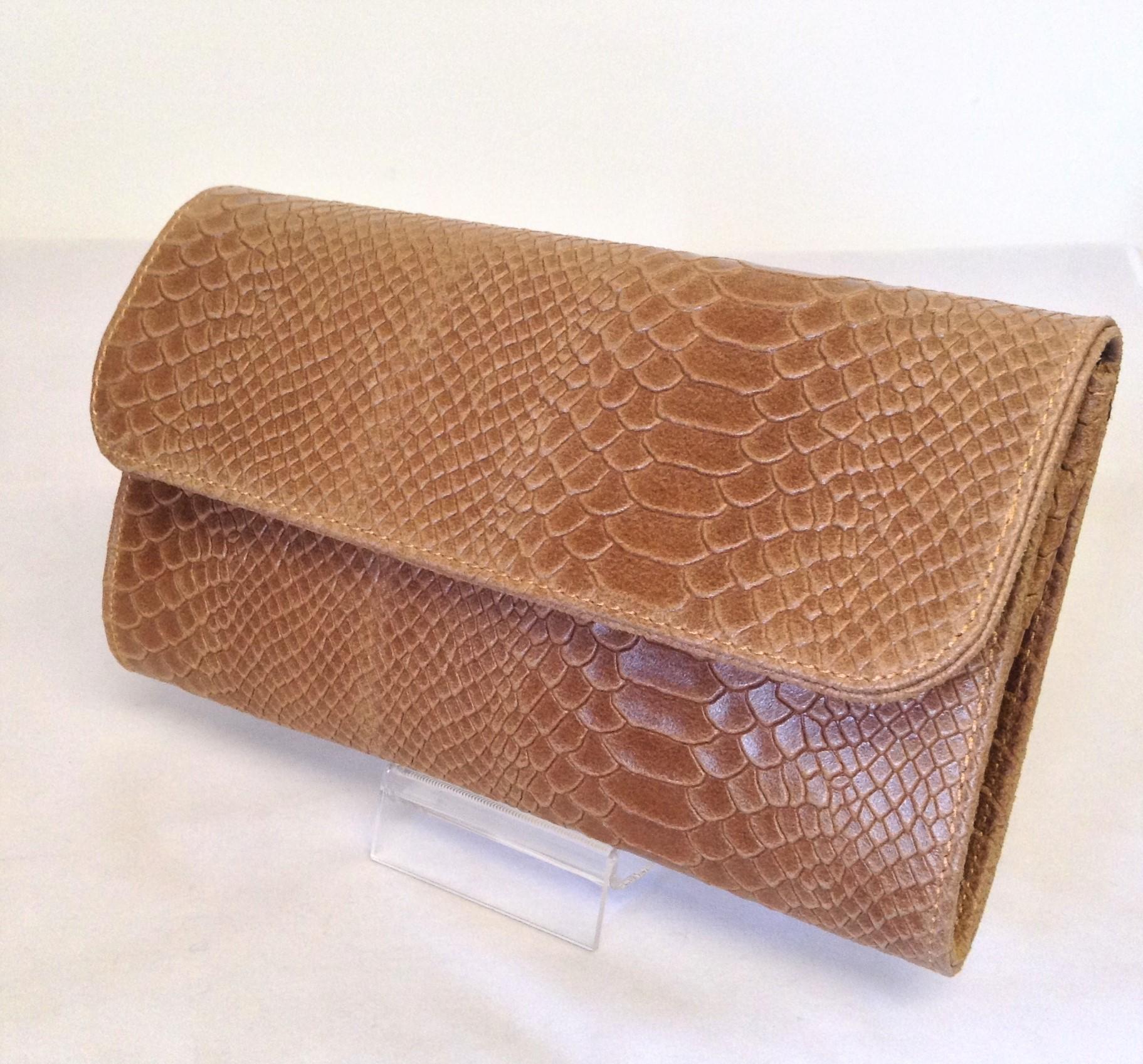 Light Tan Snakeskin Genuine Italian Leather Clutch Bag - Love4Bags