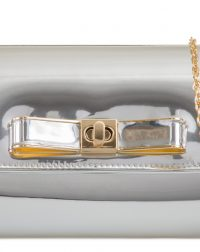 Silver Patent Bow Clutch Bag