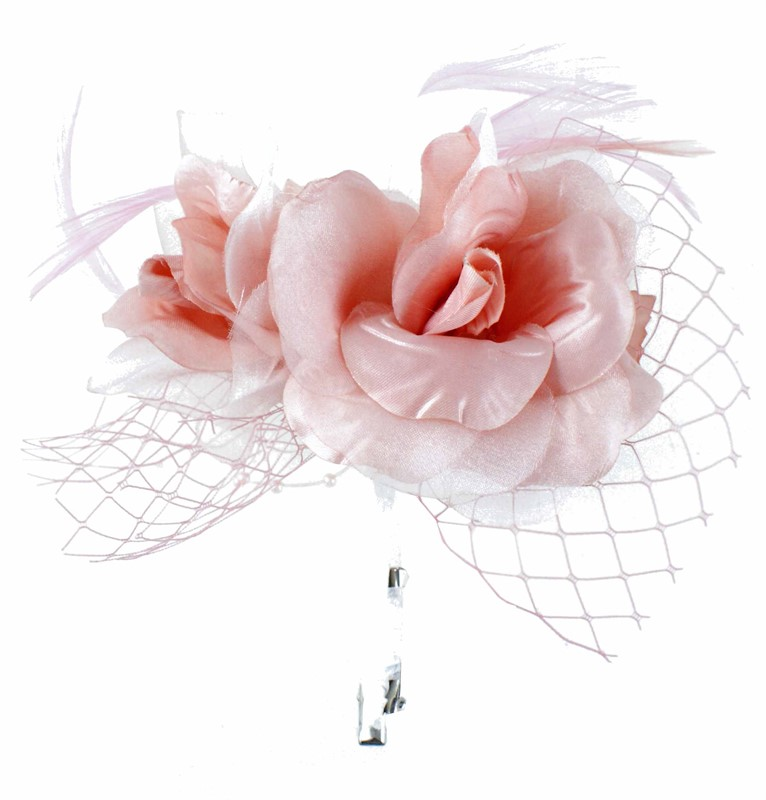 Pale pink flower fascinator with beading netting and feathers pale pink flower fascinator mightylinksfo