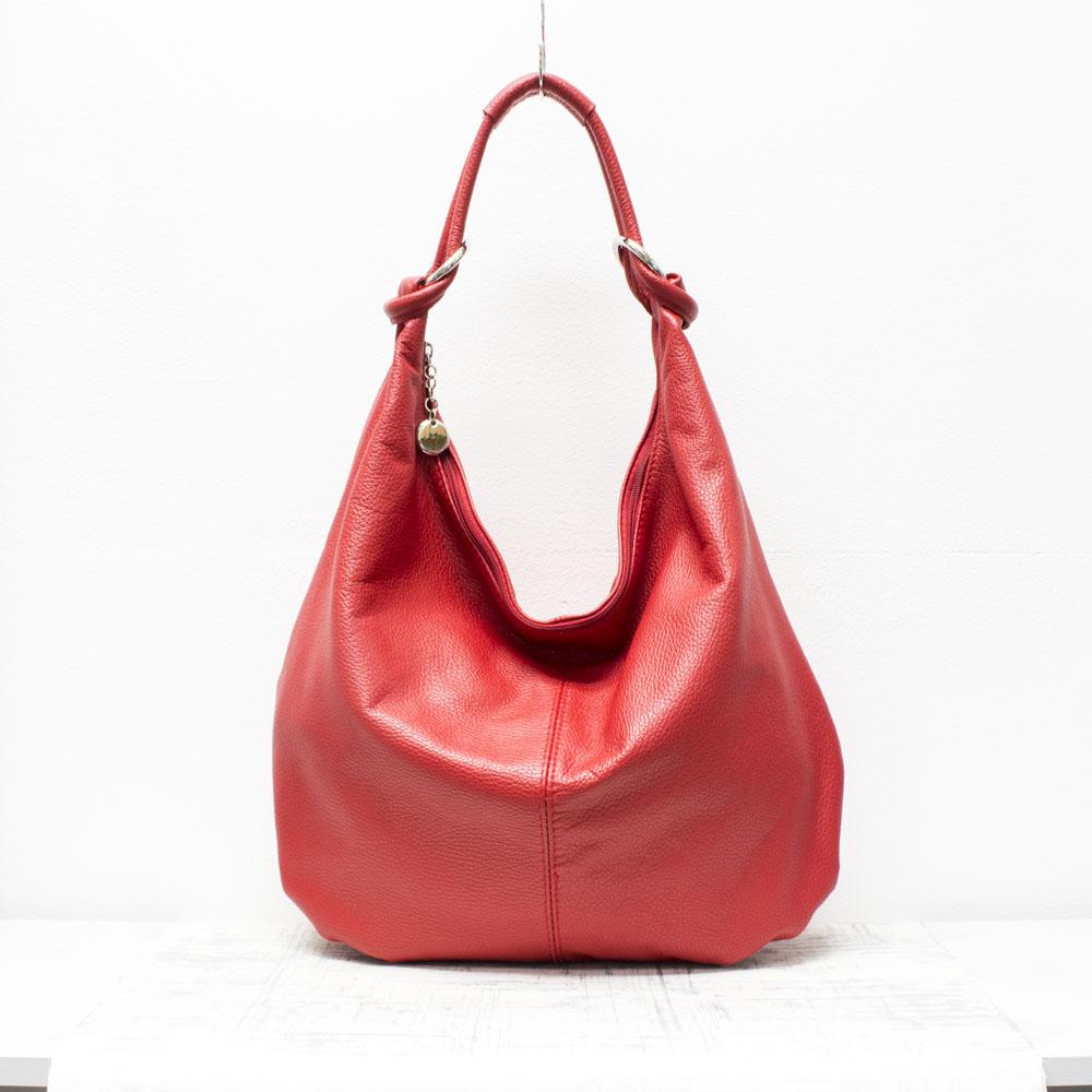 Red Genuine Italian Leather Grained Slouch Handbag - Love4Bags 83b51c72174c1