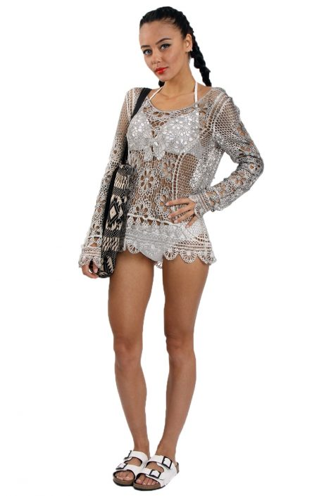 Grey Long Sleeve Floral Crochet Lace Top
