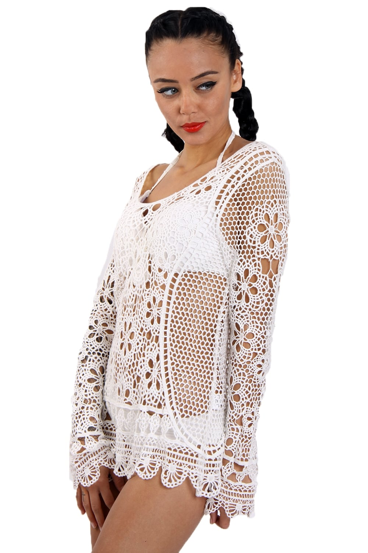White Crochet Long Sleeve Floral Lace Top Love4bags Boutique
