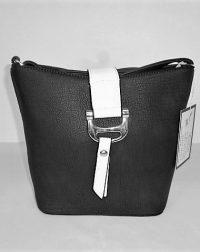 Black Leather Look Everyday Shoulder or Across the Body Bag with White Flap 271c0b7ddf277