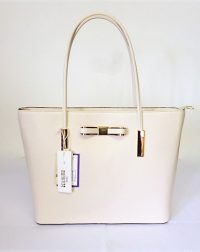 Beige Grained Leather Look Large Tote Handbag