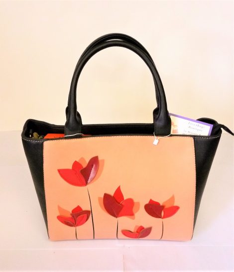 Black & Peach with Red Poppies Front