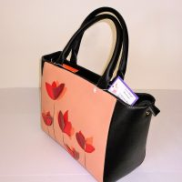Black & Peach with Poppies detail Side View