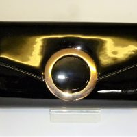 Black Patent Evening Clutch Bag with Circle Design