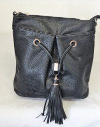 Black Grained Leather Look Shoulder/Over the Shoulder Bag with Tassel