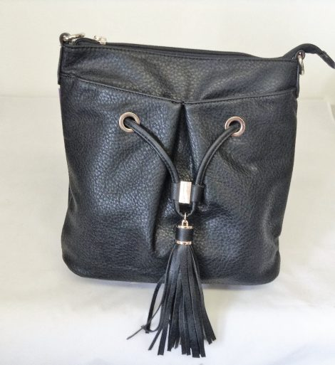 Black Grained Leather Look Shoulder/Over the Shoulder Bag with Tassel