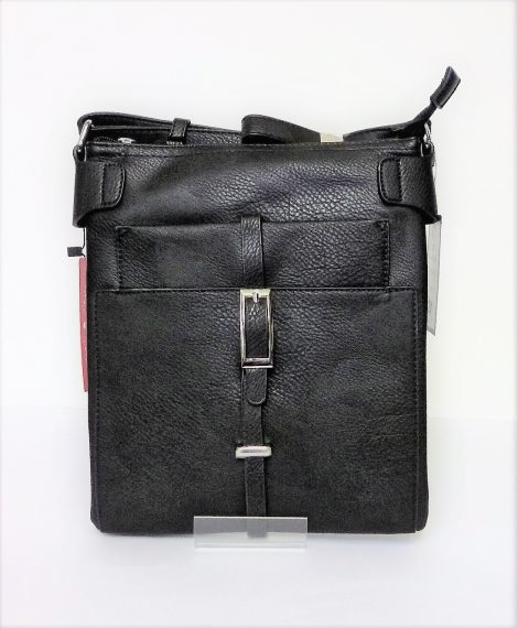 Black Leather Look Shoulder-Over the Body Bag with Vertical Buckle Detail