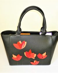 Black Leather Look Everyday Handbag with Red Poppies