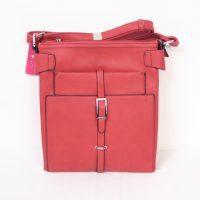 Red Verticle Buckle Shoulder Bag
