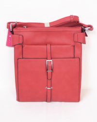 Red Verticle Buckle Shoulder Bag