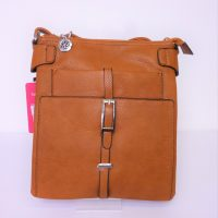 Tan Leather Look Shoulder-Over the Body Bag with Vertical Buckle Detail.