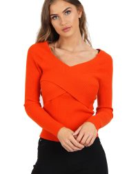 Coral cross front ribbed long sleeve jumper