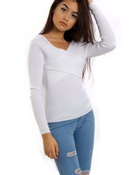 White cross front ribbed long sleeve jumper