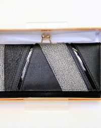 Black and Silver Leatherlook Patent and Textured Purse