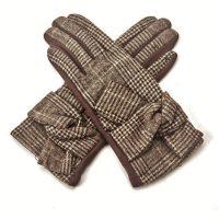 Brown Tartan Bow Gloves