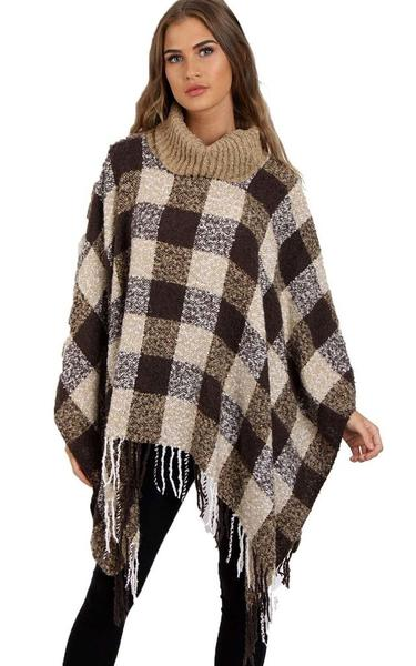 Camel Roll Neck Check Print Poncho With Tassel