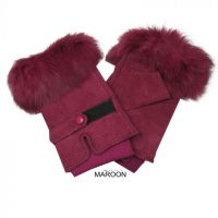 Genuine Suede Fingerless Gloves