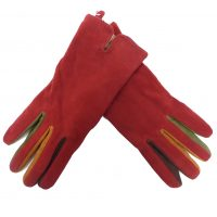 Red Genuine Suede Gloves