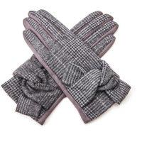 Grey Tartan Bow Gloves