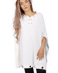 White oversized eyelet poncho top