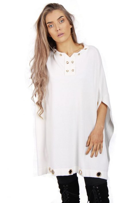 White oversized eyelet poncho top