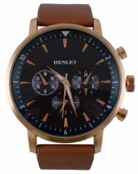 Henley Rose Gold and Brown Strap Watch