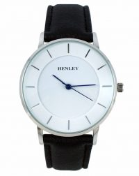 Henley Silver with Blue Hands Black Strap Watch