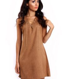 Camel Faux Suede Lace Up Mini Dress