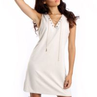 Cream Faux Suede Lace Up Mini Dress