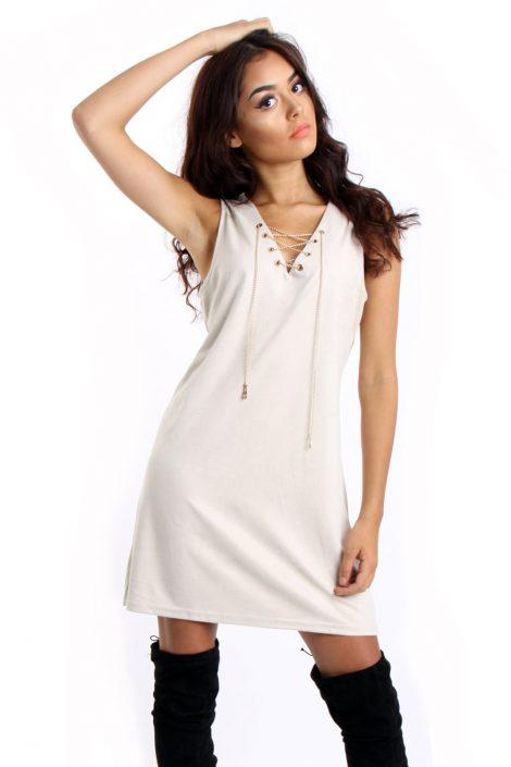 Cream Faux Suede Lace Up Mini Dress