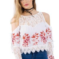 White Floral Embroidered Cold Shoulder Top