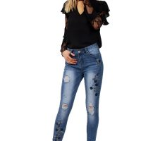 Blue Floral Embroidered Diamante Detail Skinny Jeans