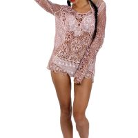 Pink Long Sleeve Floral Crochet Lace Top