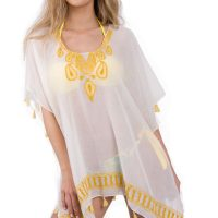 Yellow Tear Drop Embroidered Kaftan Tassel Top Front