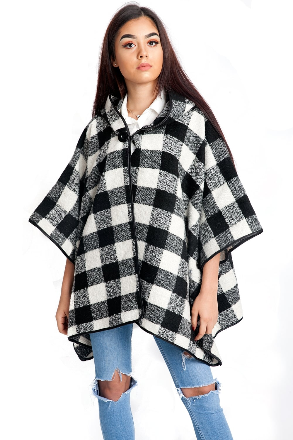 Black and White Check Pattern Poncho Wrap with Hood