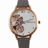 Ladies Henley Butterfly Watch with Grey Leatherette Strap