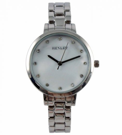 Silver Ladies Henley Mother of Pearl Watch with Metal Strap
