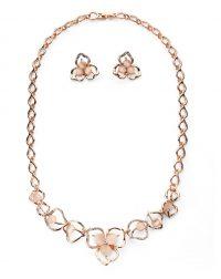 Textured Flower Petal Necklace Set - Rose Gold