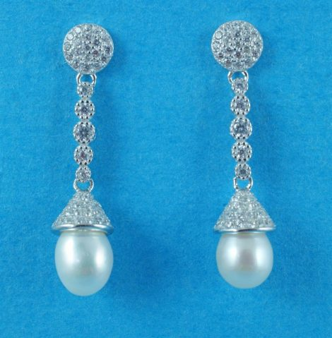 925 Silver and CZ Drop Earrings with Fresh Water Pearls