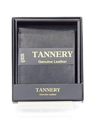 Black Open Front Tannery Genuine Leather RFID Gents Wallet