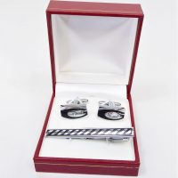 Black and Silver Striped Cuff Links and Tie Pin Set